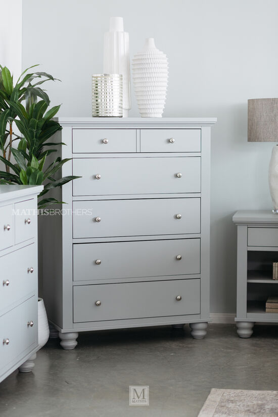"""52"""" Five-Drawer Chest in Gray"""