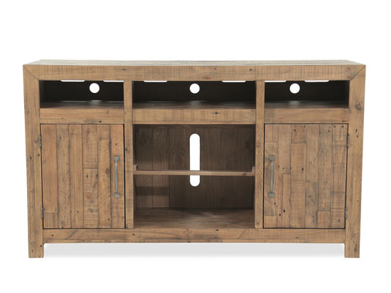 Plank Top Casual TV Stand in Brown