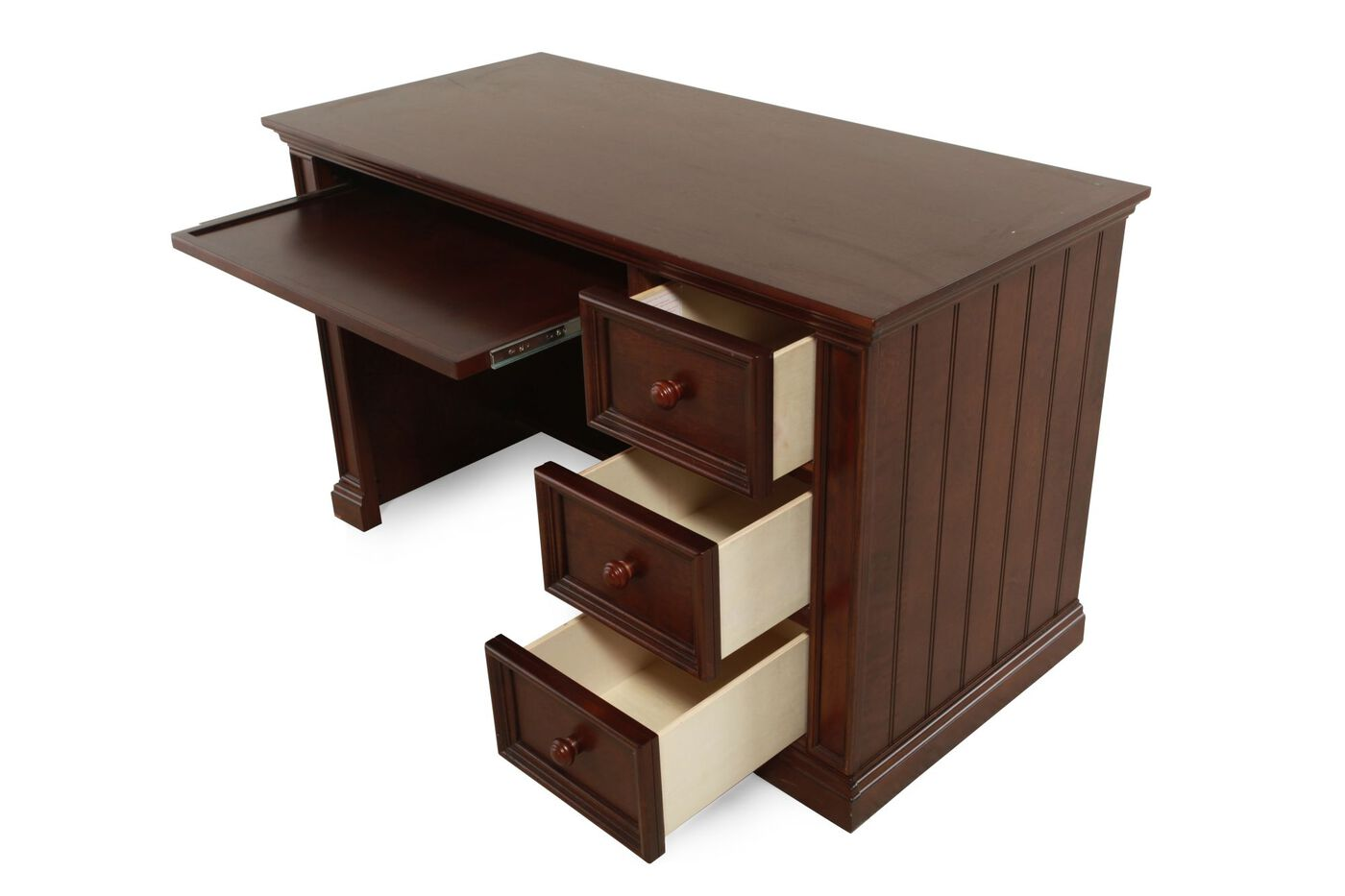 Three Drawer Flattop Desk In Chocolate Mathis Brothers