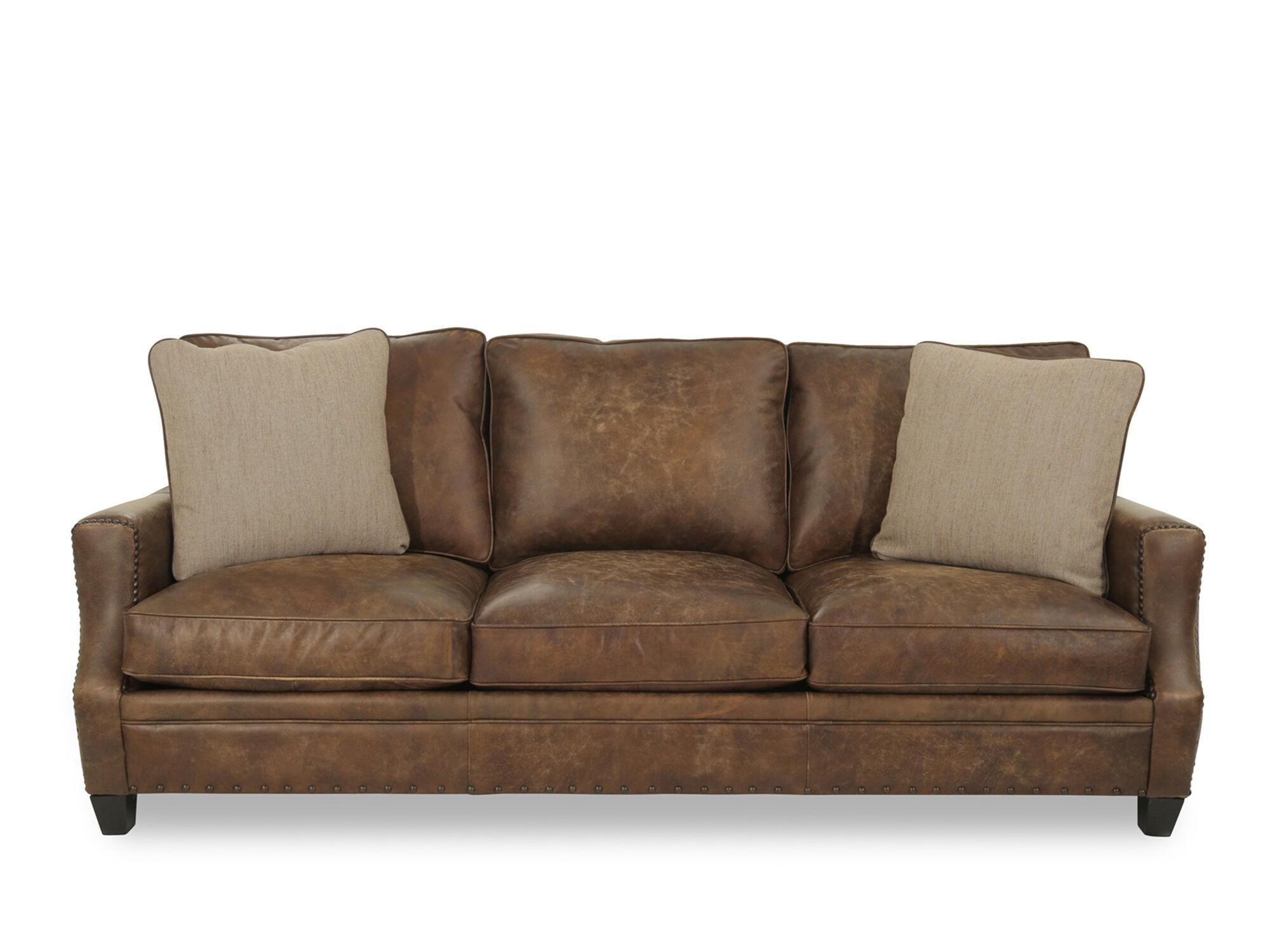 Bernhardt Barclay Leather Mocha Sofa