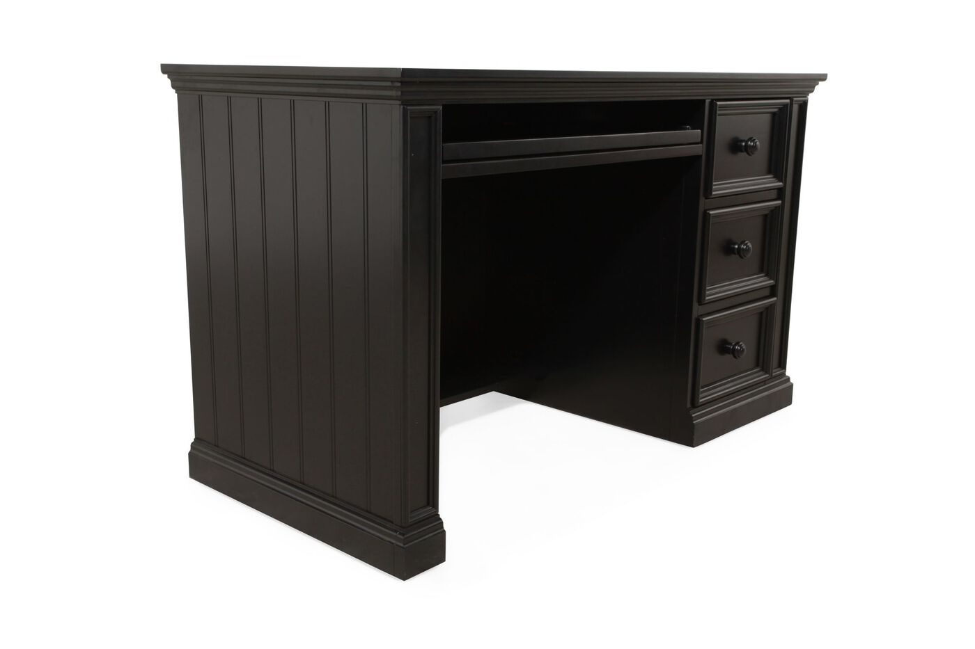 Three Drawer Youth Desk In Matte Ebony Mathis Brothers