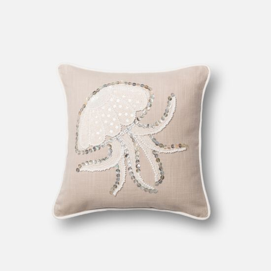 "18""x18"" Pillow Cover Only in Beige/White"