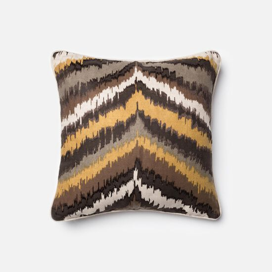 """Contemporary 18""""x18"""" Cover w/Down Pillow in Brown/Multi"""