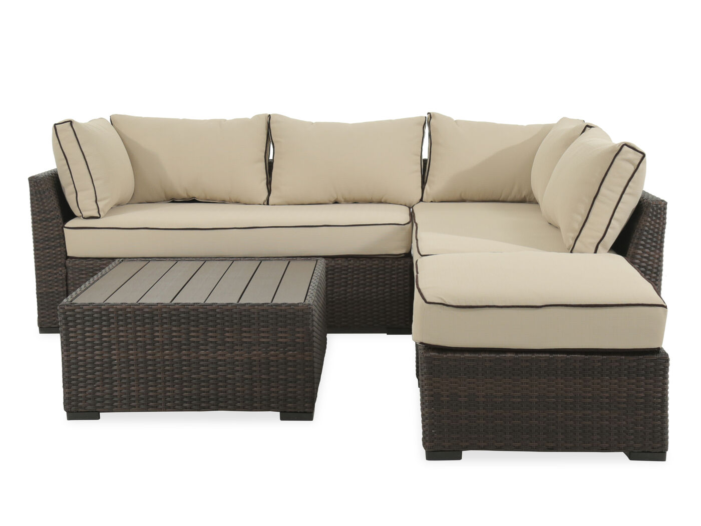 Mathis Brothers Patio Furniture ashley loughran four-piece brown outdoor sectional set | mathis