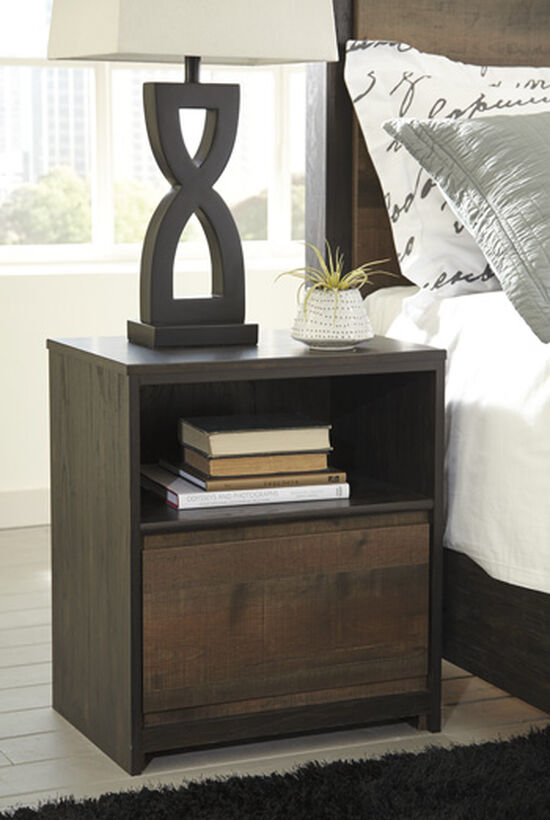 "25"" Contemporary One-Drawer Nightstand in Dark Brown"