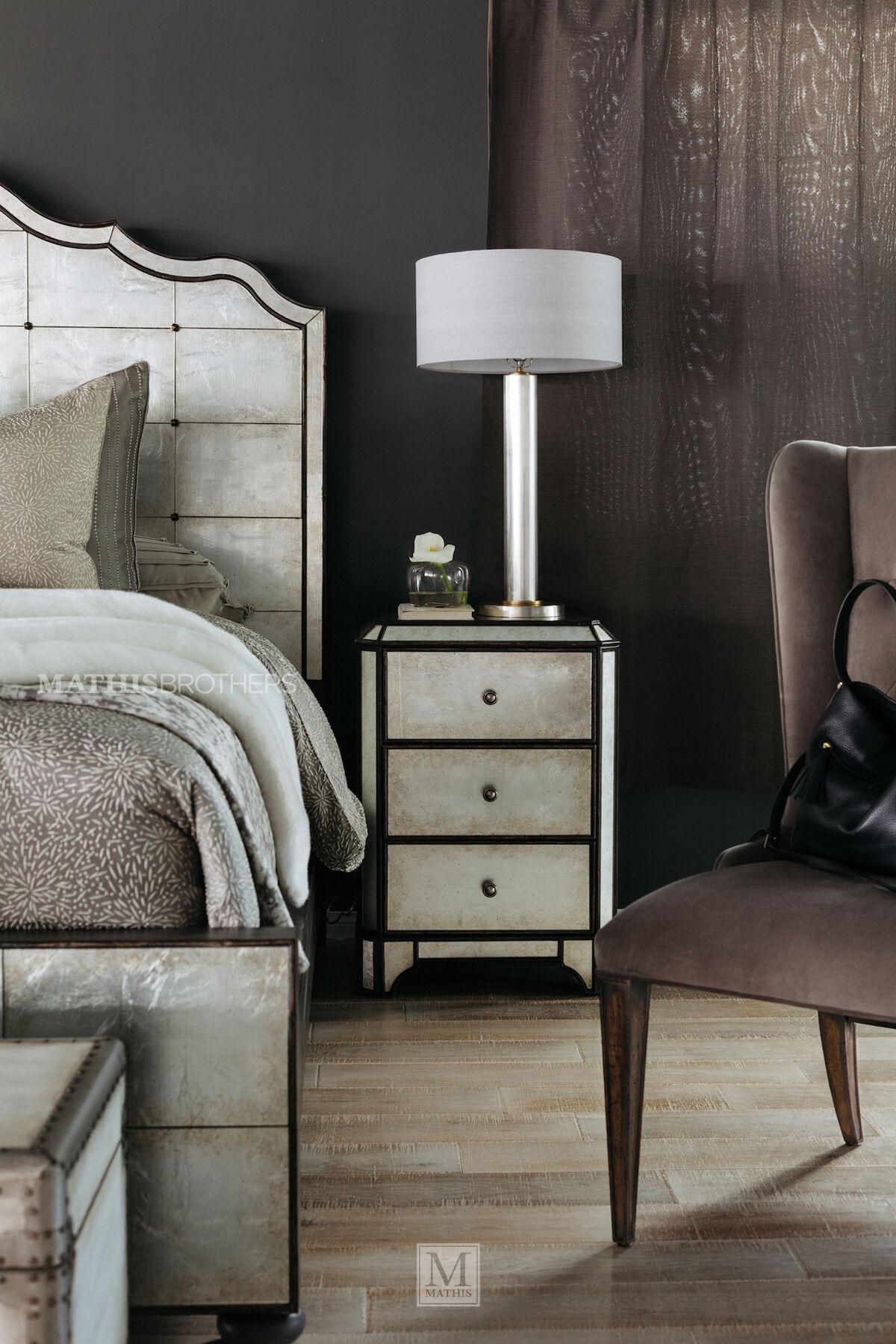 hooker arabella mirrored threedrawer nightstand