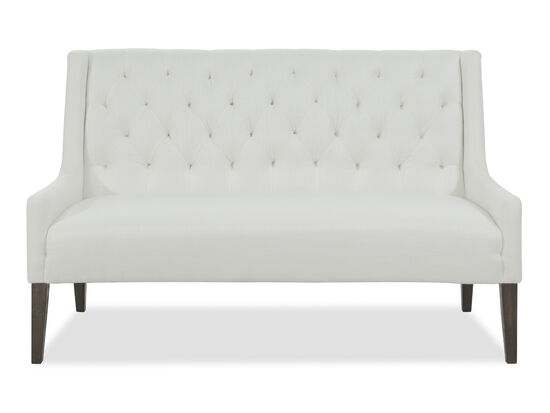 "Tufted 61"" Settee in White"