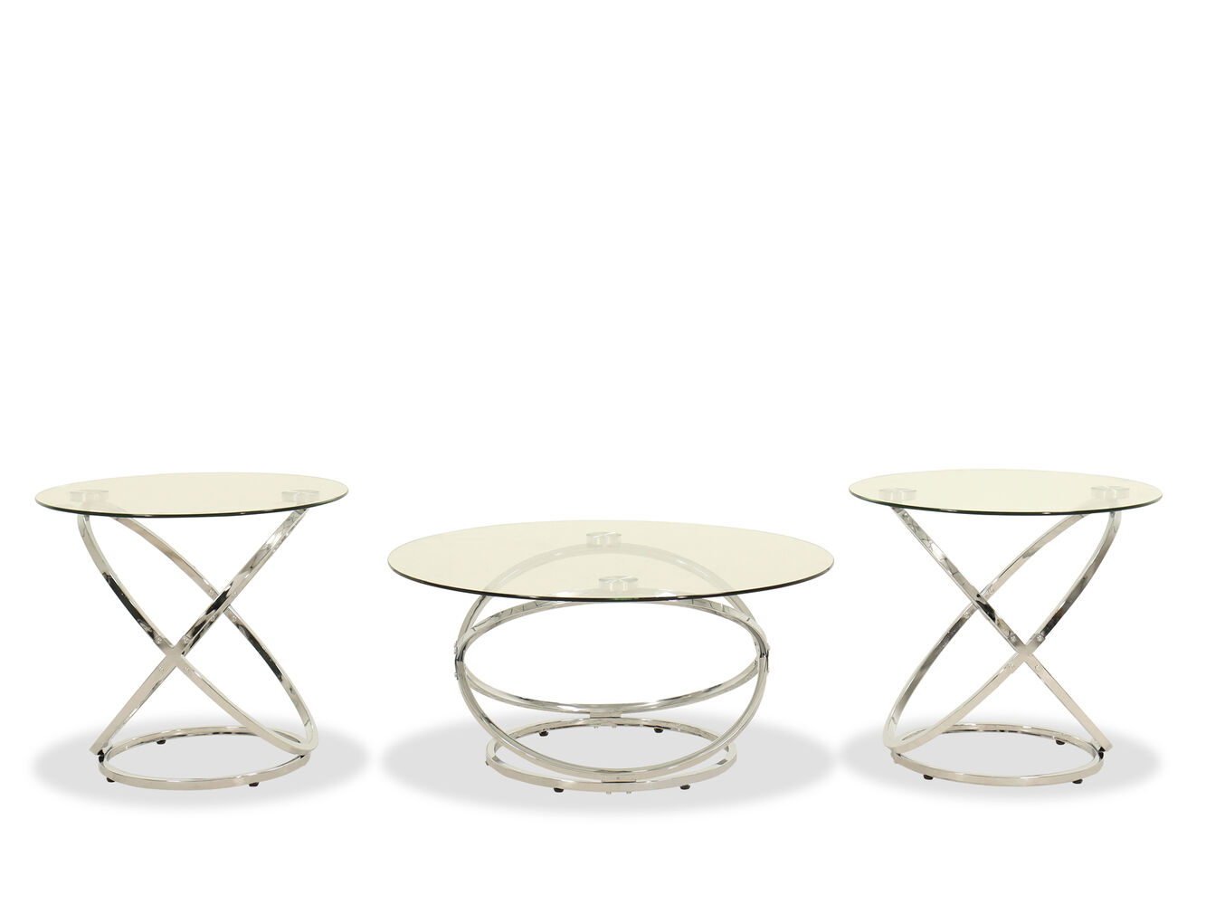 Three-Piece Contemporary Occasional Table Set in Chrome | Mathis ...