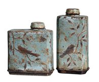 Two-Piece Bird Patterned Containers in Sky Blue