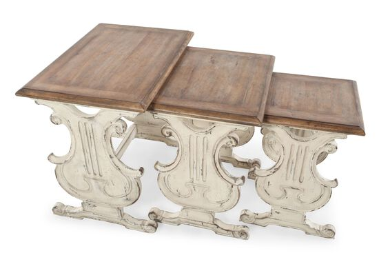 Three-Piece Distressed Nesting Tables in Vintage Chalky White