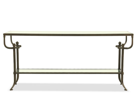 Curved Legs Mid-Century Modern Console Table in Bronze