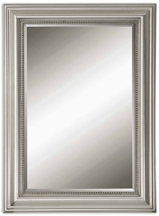 37'' Beaded Frame Accent Mirror in Silver Leaf