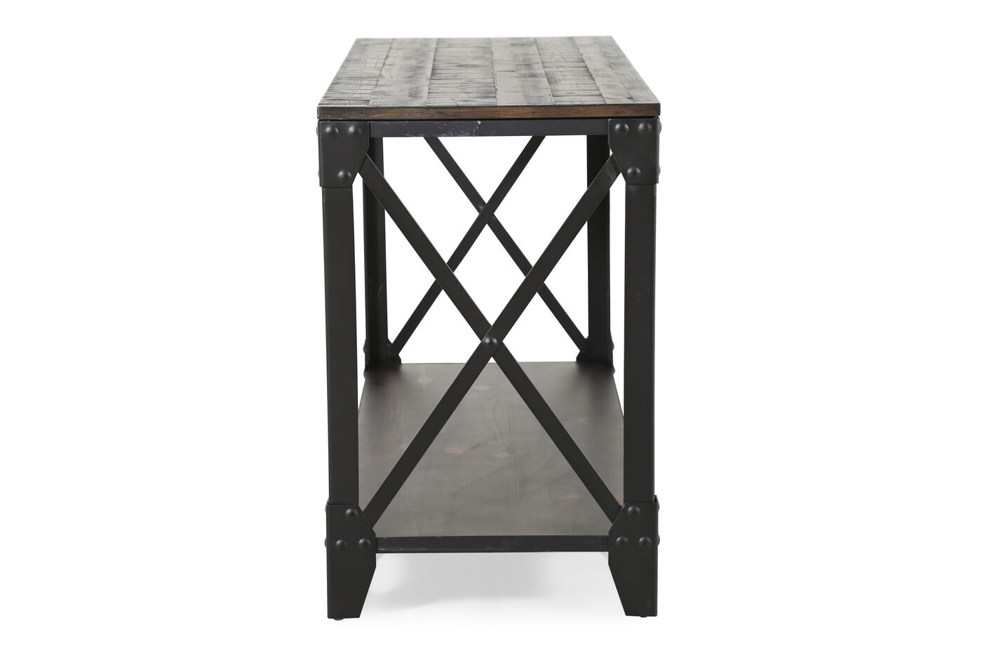 black contemporary sofa tables. X-Braced Contemporary Sofa Table In Gunmetal Black Tables