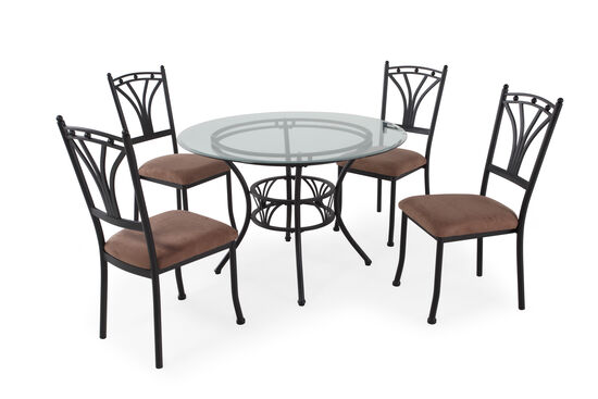 Five-Piece Microfiber Casual 45'' Dining Set in Dark Brown