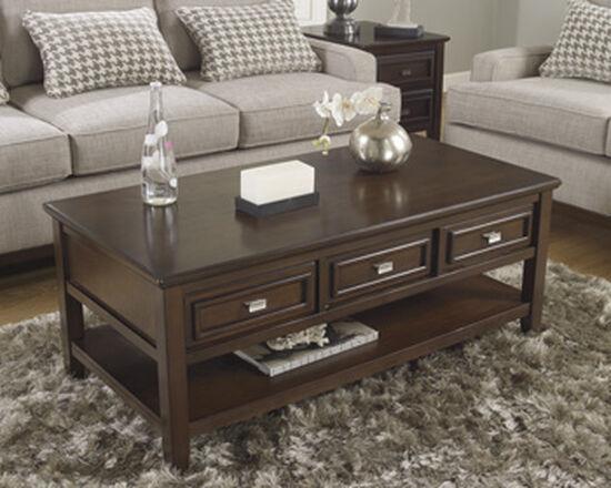Three-Drawer Rectangular Cocktail Table in Dark Brown