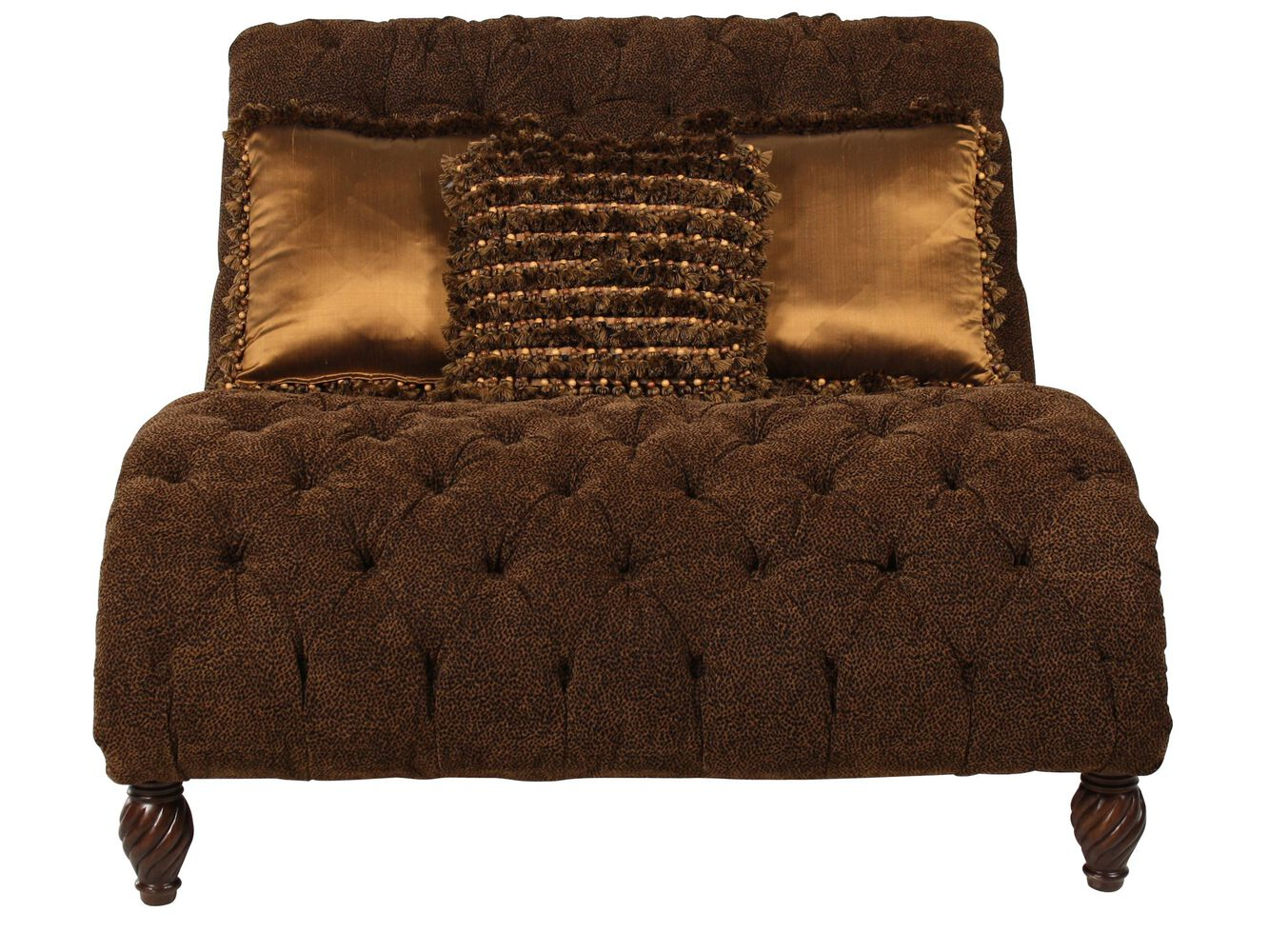 Animal print tufted traditional chaise in brown mathis for Chaise and a half lounge