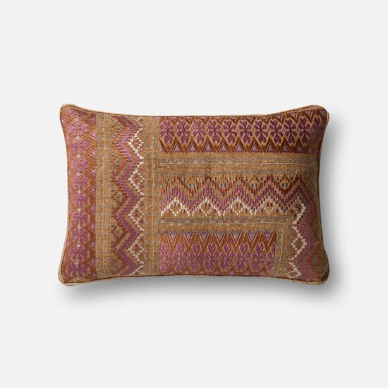 """Contemporary 13""""x21"""" Cover w/Down Pillow in Pink/Rust"""