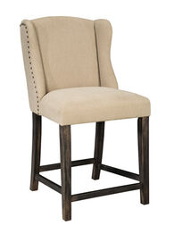 "Wingback 40"" Nailhead Accented Bar Stool in Light Beige"