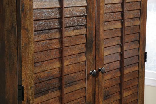 """72"""" Contemporary Louver Door Armoirein Curado Cherry"""
