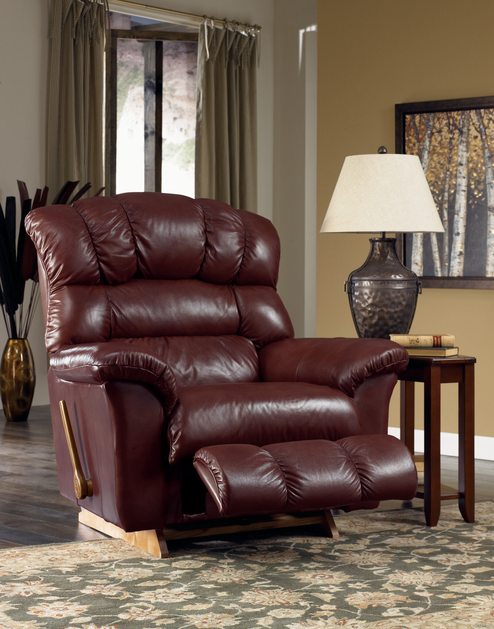 lazboy crandell bordeaux leather recliner