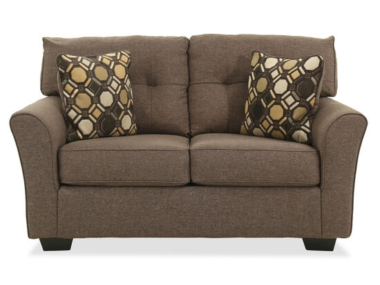 "Button-Tufted Contemporary 61"" Loveseat in Slate"