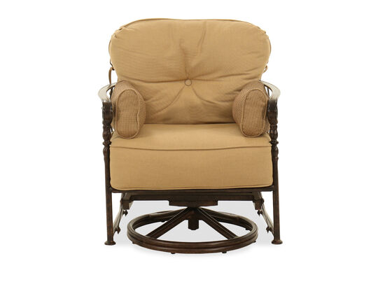 Button-Tufted Aluminum Swivel Glider in Brown