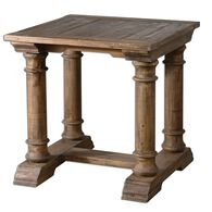 Hand-Turned Column End Table in Brown