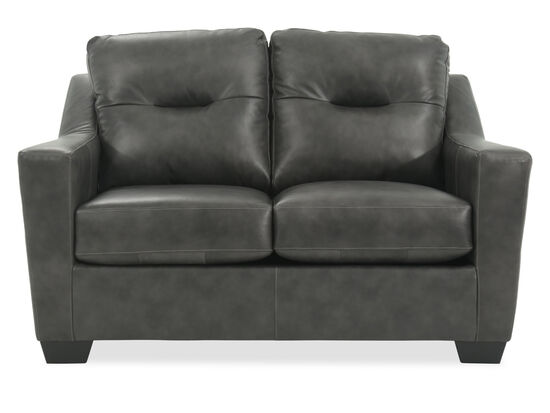"""Tufted Leather 60"""" Loveseat in Charcoal"""