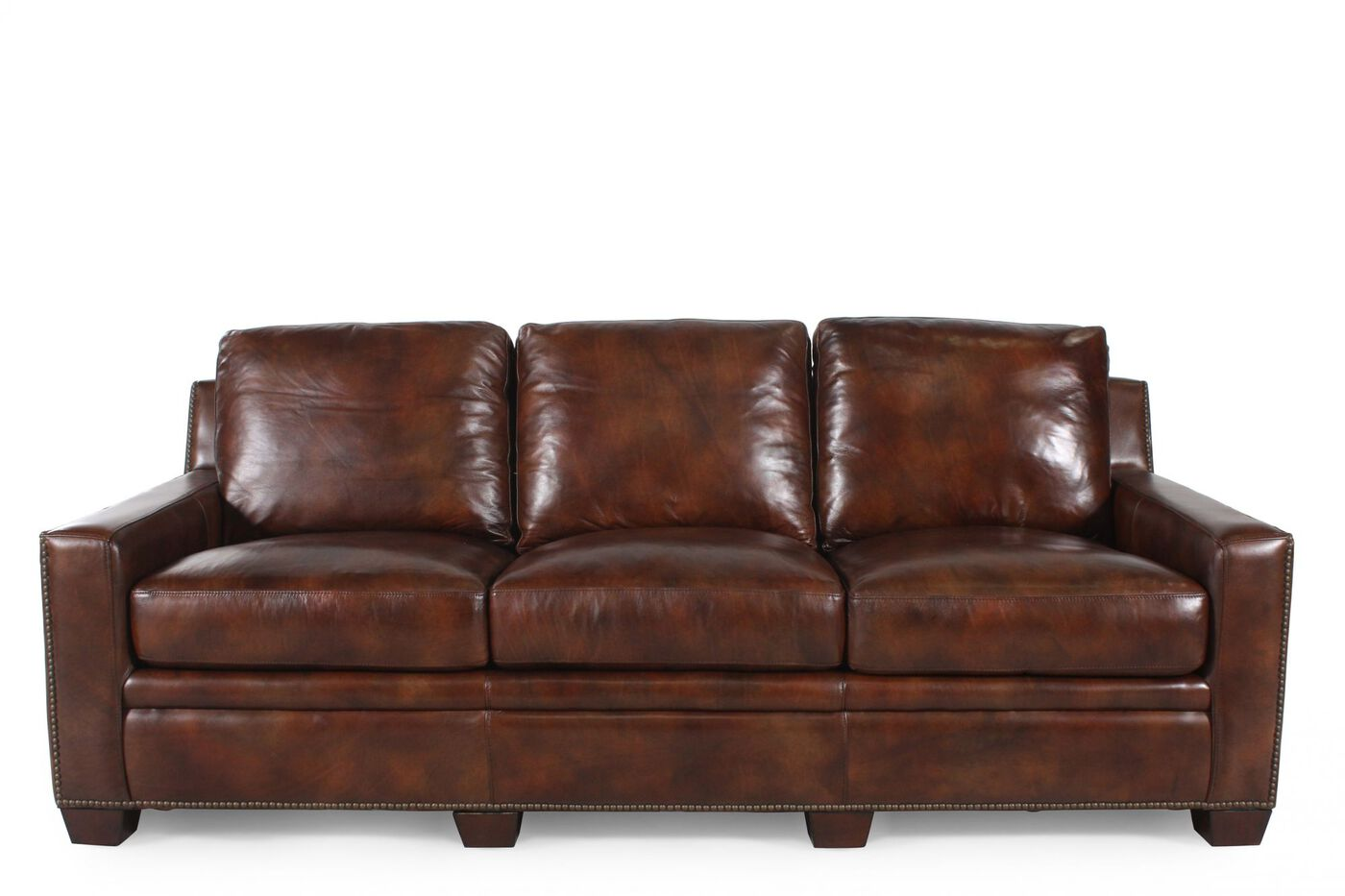 Nailhead Accented Leather Short Sofa In Dark Brown Mathis Brothers Furniture