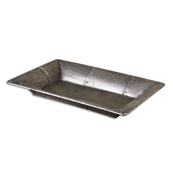 "32"" Studded Metal Tray in Burnished Silver"