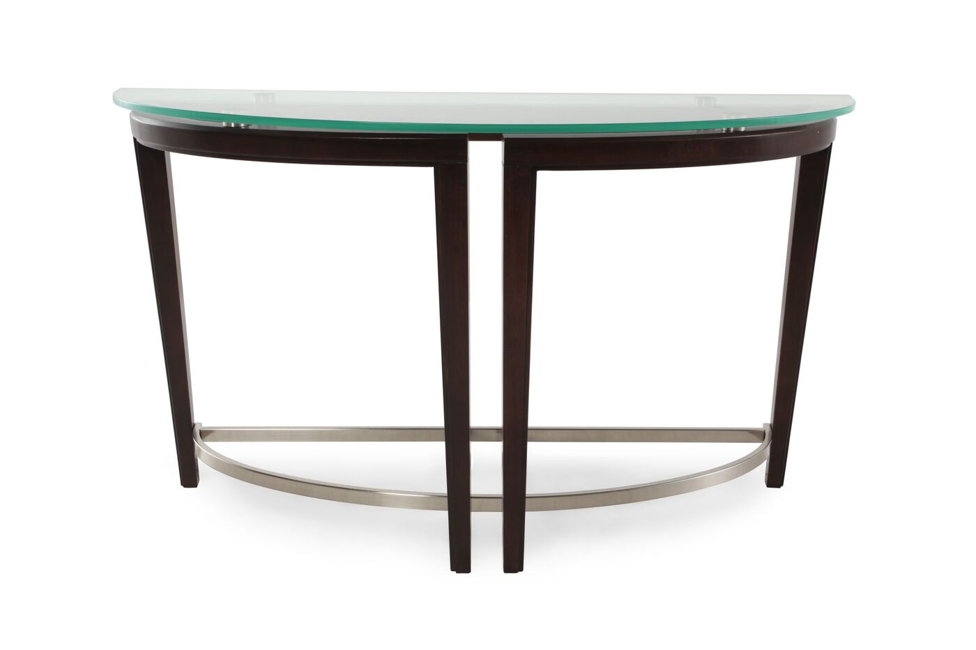 Tempered glass top contemporary sofa table in dark for Sofa table glass