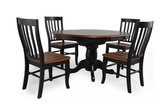 Five-Piece Traditional Round Dining Set in Almond