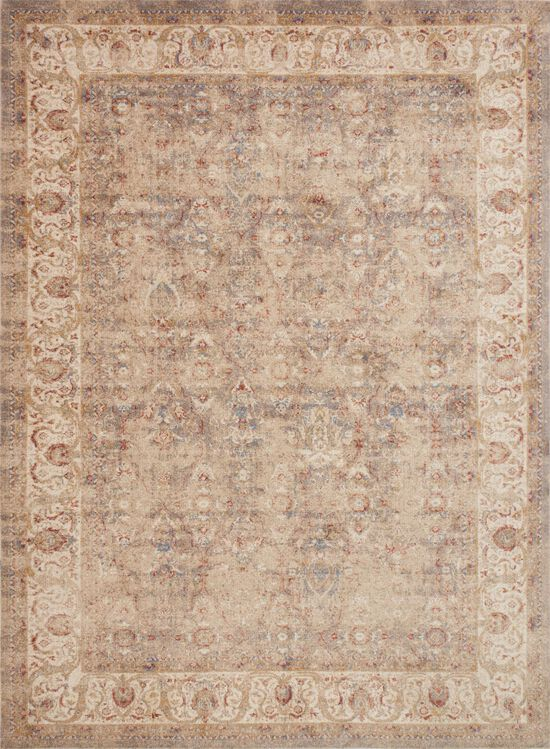 """Traditional 1'-6""""x1'-6"""" Square Rug in Sand/Ant Ivory"""