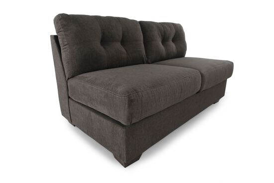 "Tufted Microfiber 64"" Armless Loveseat in Gray"