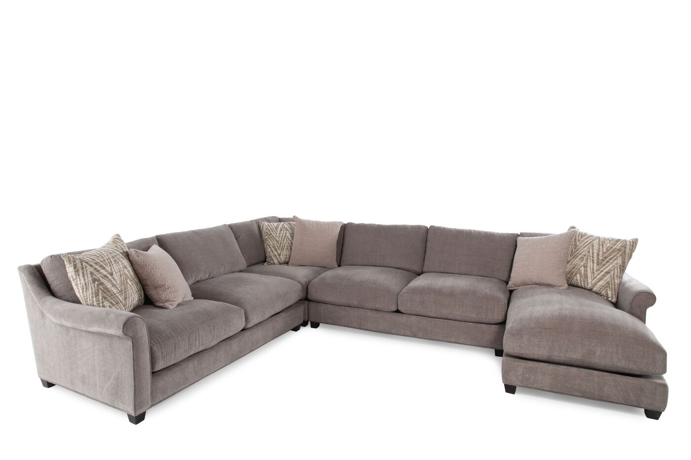 four piece microfiber sectional in milk chocolate mathis brothers furniture. Black Bedroom Furniture Sets. Home Design Ideas
