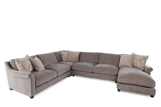 Four-Piece Microfiber Sectional in Milk Chocolate
