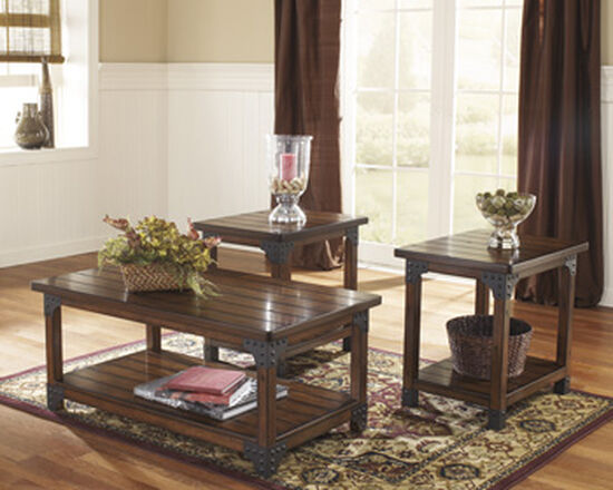 Three-Piece Nailhead Trim Rustic Farm House Accent Table Set in Brown