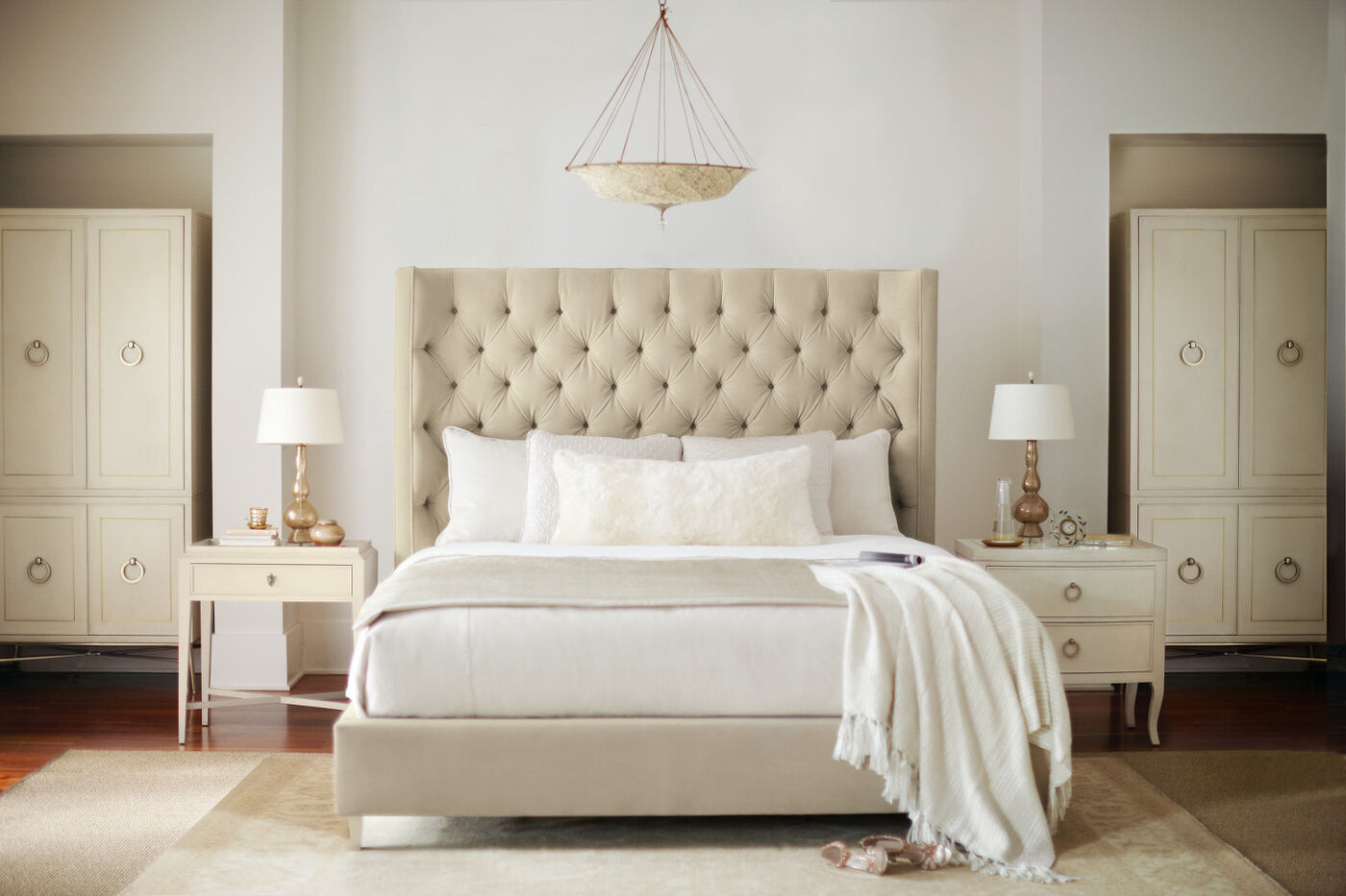 glam button tufted shelter bed in cream mathis brothers furniture. Black Bedroom Furniture Sets. Home Design Ideas