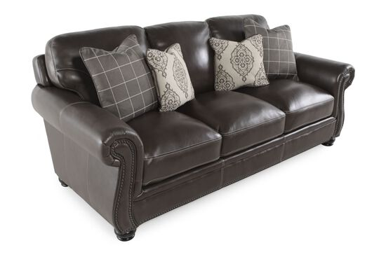"Leather Nailhead-Accented 87"" Sofa in Dark Brown"