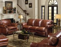 "Leather Rolled Arm 88"" Sofa in Brandy"
