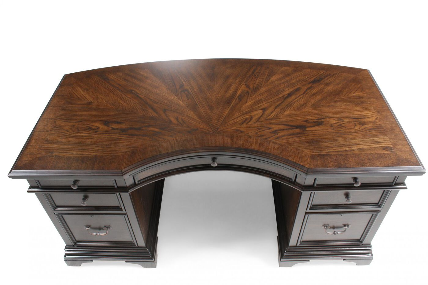 66  Traditional Curved Executive Desk. 66  Traditional Curved Executive Desk in Molasses Brown   Mathis