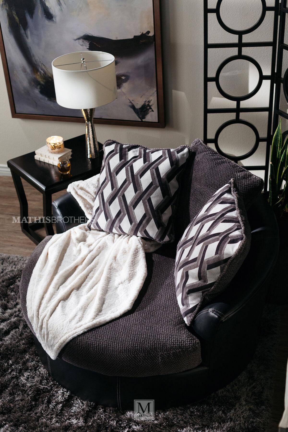 Oversized Microfiber 58u0026quot; Swivel Accent Chair In Smoke Gray
