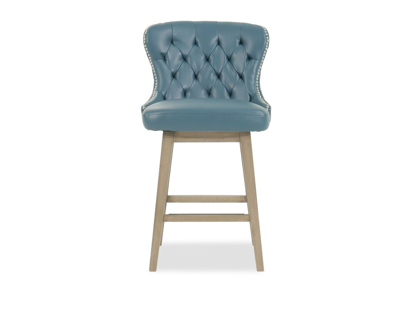 Contemporary 38 Quot Tufted Bar Stool In Blue Mathis