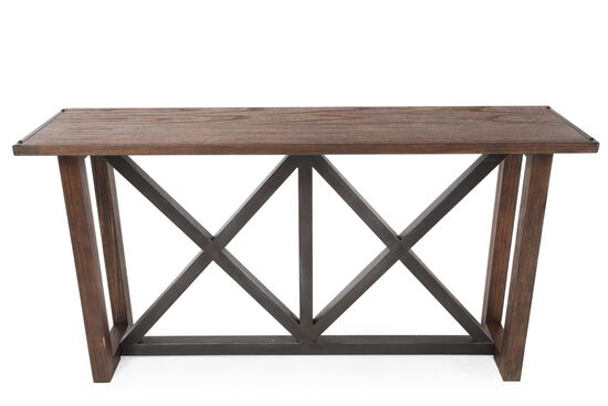 X-Braced Contemporary Sofa Table in Brown