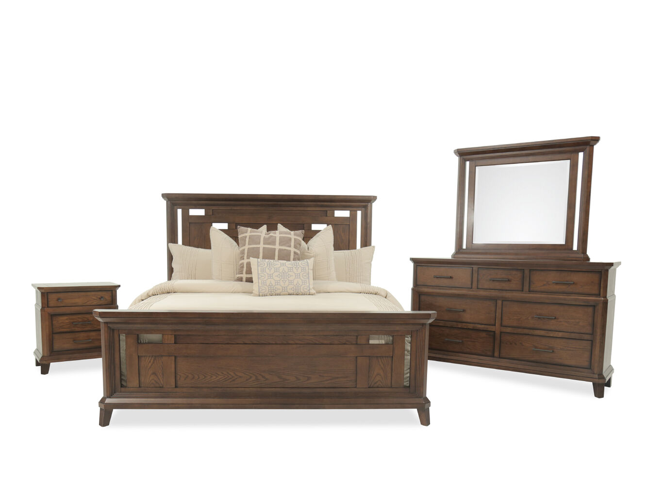 Four-Piece Mission Bedroom Set in Brown | Mathis Brothers Furniture