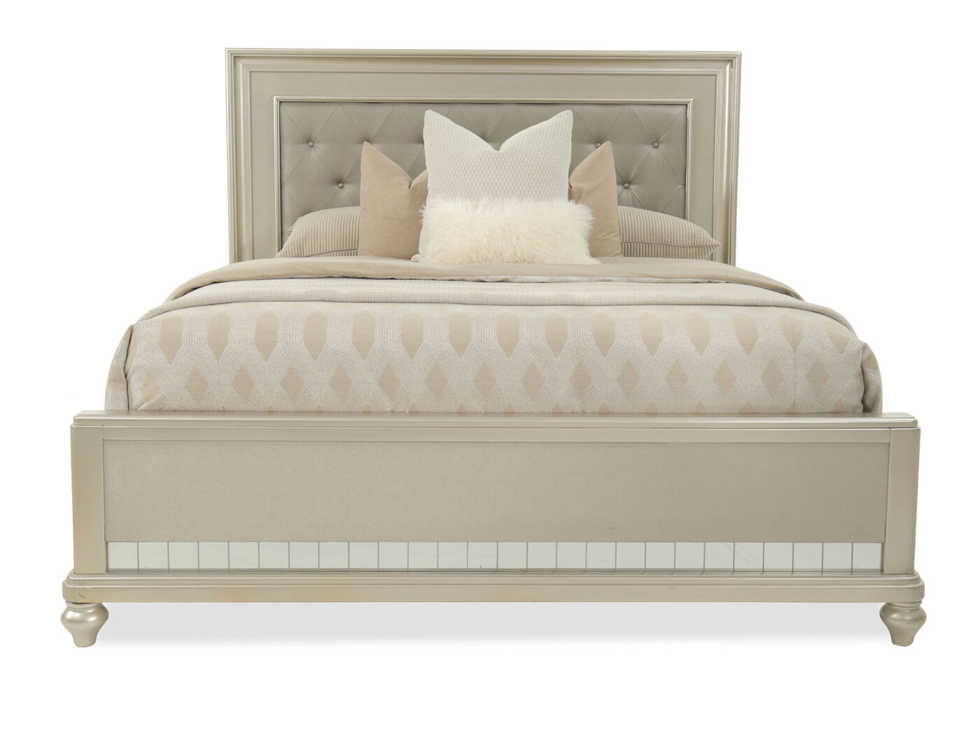 """Wayfair Tufted Headboard Bedding Bedroom Transitional With: 66"""" Transitional Button Tufted Panel Bed In Brown"""