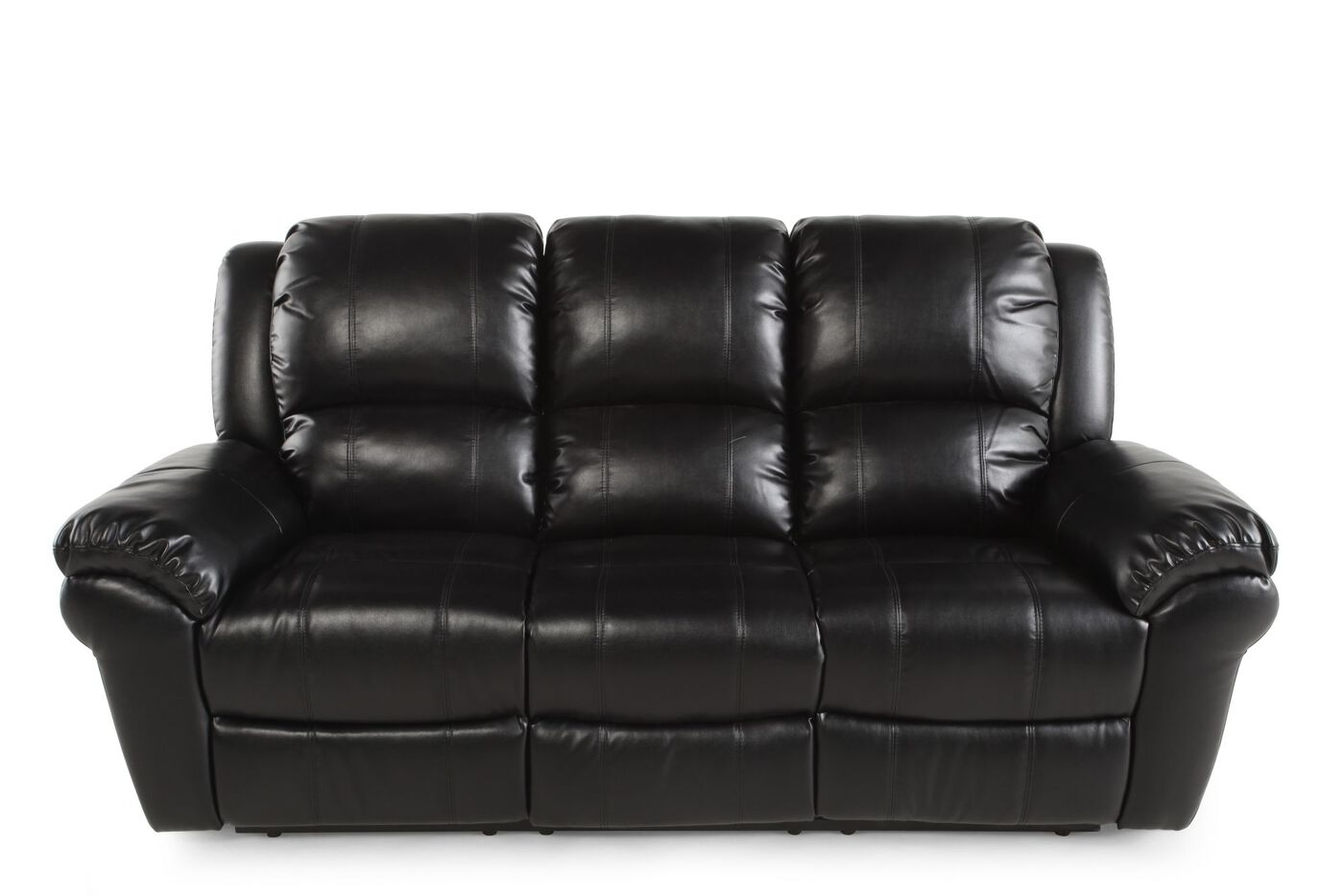 Leather 87 Quot Reclining Sofa In Black Mathis Brothers