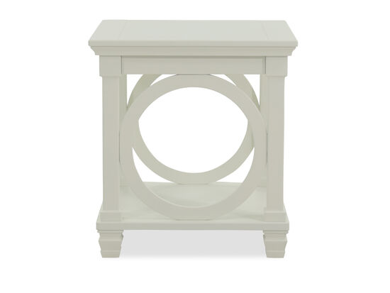 Contemporary Rectangular End Table in White