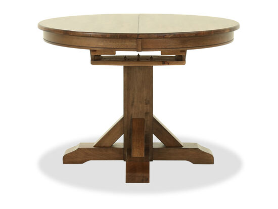 """Transitional 42"""" to 57"""" Pedestal Dining Table in Rustic Brown"""