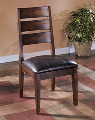 Ashley Larchmont Burnished Dark Brown Pair of Dining Upholstered Side Chairs